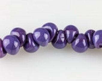 Ten Opaque Teardrop Handmade Lampwork Beads - Orchid, 11mm (22757)