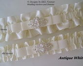 Rhinestone Marquee Wedding Garters Handmade Antique White  Garters