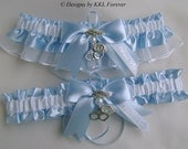 Police Wedding Garters Handmade Blue and White Garters