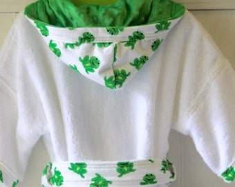 Boys-Bath-Robes-Boy-Robe-Frogs-Green-Bathrobes-Childrens-Spa-Beach-Hooded-Swim-Suit-Terry-Cover-Up-Baby-Toddler-Kids-Birthday-Holiday-Gift