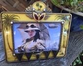 Steampunk Tribal Victorian Fantasy Explorer Safari Enameled Picture Frame