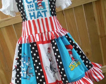 Made to Order Custom Boutique Cat in Hat Fabric Dr Seuss Dress 3 4 5 6 7 8