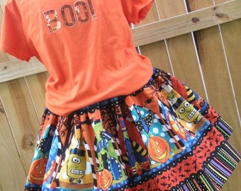 ON SALE Ready to Ship Custom Boutique Halloween Twirl Skirt Girl 3 or 4 or  5 or  6 or 7 or  8  it's   15 inches long  RTS