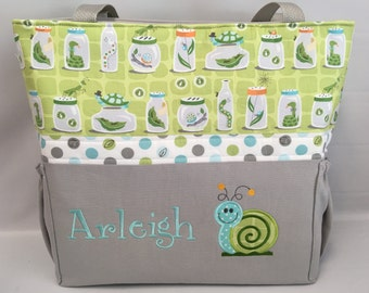 BUGS in Jars .. SNAIL  .. DIAPER Bag .. Applique   ... Bottle Pockets ..  Personalized Free .. Zipper Closure Available