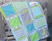 Boy Rag Quilt, Elephant and Giraffe, Chevron, and Polka Dot in Turquoise, Green, and Gray
