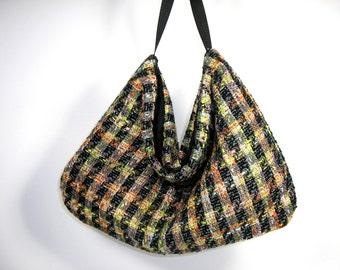 Tweed Hobo Bag Tweed Purse Plaid Hobo Bag Plaid Purse Tweed Shoulder Bag Tweed Bags Travel Bags Large Hobo Bags Black and Orange Hobo Bag