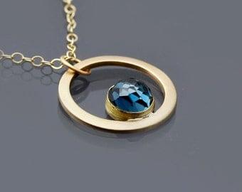 14K Gold and London Blue Topaz Necklace, Topaz Cabochon, Gemstone Pendant