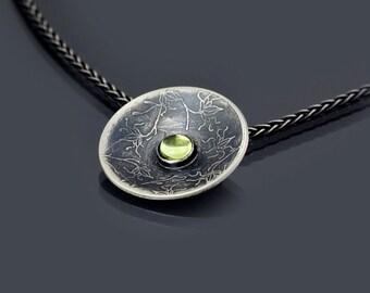 Sterling Silver Vine Lace Peridot Necklace - Etched Sterling Silver Pendant - Etched Vine Lace Pattern - Peridot Cabochon