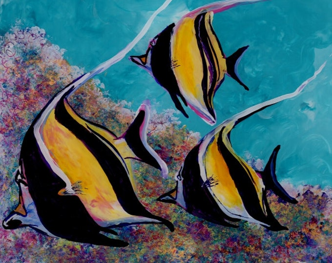 Moorish Idol Angel Fish Art - 8 x 8 Giclee Art Print - Kauai Hawaii - Childrens Wall Art - Kids Tropical Fish Decor - Tropical Reef Fish Art