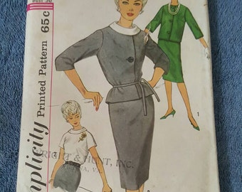 Vintage late 1950s or early 1960s Simplicity pattern #4111 for Juniors' and Misses' Suit and Blouse