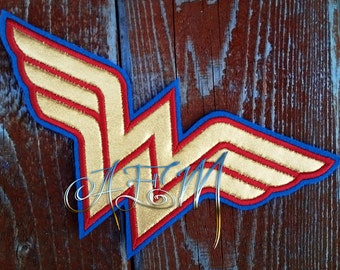 Wonder Woman Applique Logo Patch Gold and Red with Blue