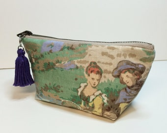 FREE SHIPPING - Gift for Her - Zipper pouch with vintage motif - cosmetic makeup bag made from recycled scrap fabric