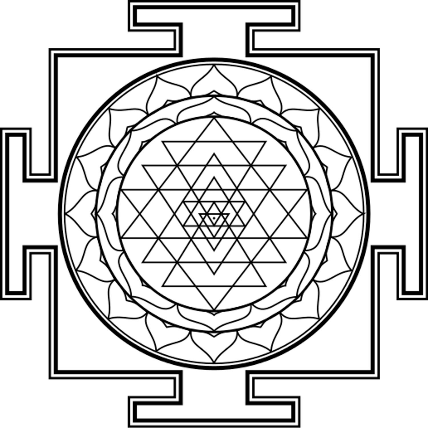 Yantras 11 Coloring Pages pdfs for Meditative Creativity