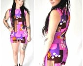 ICONIC 60s 70s MOD mini romper suit vintage PSYCHEDELIC op art zip up psychedelic one piece play suit small medium