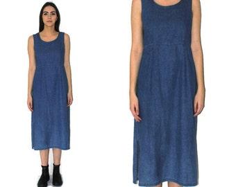long MINIMALIST denim dress early 90s vintage long pale CHAMBRAY side slit midi dress medium large