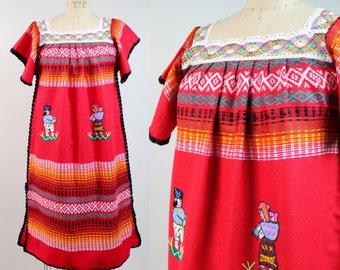 Vintage South American Folk Dress | Crochet Neckline Shift Dress | Lace Collar Tent Dress | Oaxacan Dress | S-M