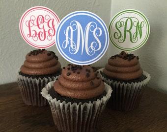 Script Monogram Cupcake Toppers