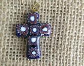 Small Millefiori  Vintage Italian Ceramic Cross