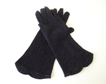 Black Beaded Vintage Dress Gloves