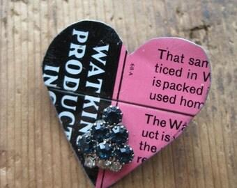 50% OFF SALE Vintage Heart Tin Brooch