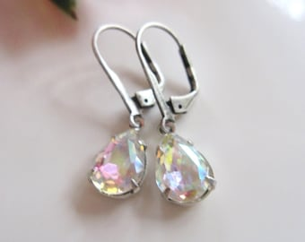 Clear Crystal Earrings, Petite, Dangle Drops, Teardrop Pendant, Dainty, Bridesmaid Earrings, For the Bride, Gardendiva