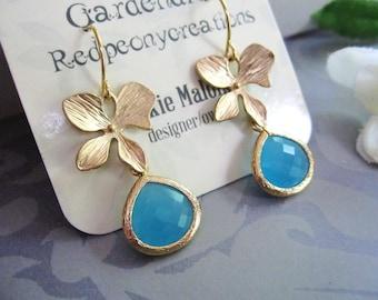 Gold Petal Earrings, Blue Teardrop, Boho Bridal Earrings, Botanical, Nature, Gold Leaf Jewelry, Gardendiva