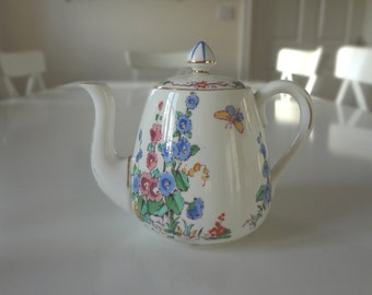 Teapot Tea Set Teacup, Milk Jug Sugar Bowl Tea for One Crown Staffordshire Hollyhock Antique Rare Pattern Circa 1920  - EnglishPreserves