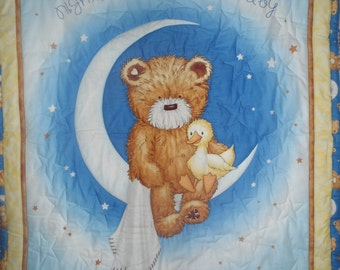 bear moon stars quilted blue blanket quilt