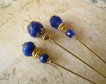 Dark Blue Faceted Gemstone Hijab Pins, Hatpins, Gold Plated Stick Pins