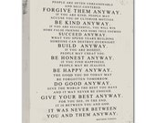 Gift Ideas Mother Teresa Do it Anyway DISTRESSED worn look STOCK Art Canvas Geezees