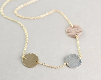 Disc Necklace, Three Coin Necklace, Mixed Metal Necklace, Three Tone, 3 Metal Necklace