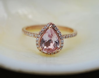 1.56ct Pear shape Peach champagne sapphire 14k rose gold diamond ring engagement ring