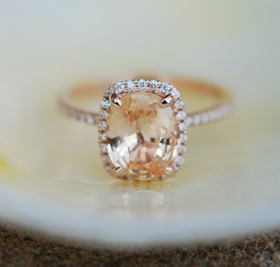 Apricot Peach Champagne Sapphire Ring 14k Rose By