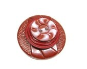Vintage Brooch Pin Buttons Fall Brown Maroon Swirl Spiral