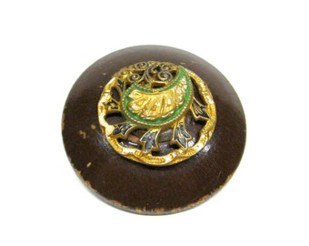 Button Brooch Pin Shabby Chic Wood with Metal Enamel Embellishment