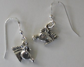 Sterling Silver 3D HORSE Earrings - French Earwires - Farm, Ranch, Animal, Whoa Team