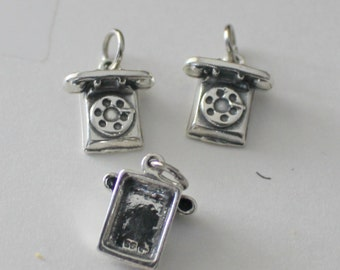 3 Sterling Silver  Vintage ROTARY TELEPHONE Charms - 3D -