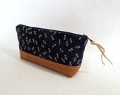 Pencil Pouch  //  Indigo Zippered Pouch // Dragonfly // Japanese Import Cotton // Vegan