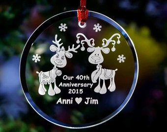 Personalized Engraved Mr & Mrs Reindeer Anniversary Keepsake Glass Christmas Ornament~Couples Christmas Ornament~1st Holiday Ornament~ORN6