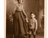 RPPC Woman with Young Boy Wonderful Outfits