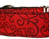 Black Hearts on Red-  Martingale Collar- 1 1/2 or 2 Inch Collar