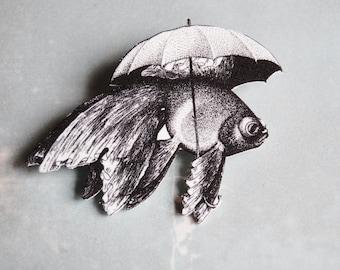Goldfish with Umbrella - Shrink Plastic Pin Brooch - Handmade
