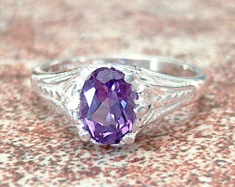 Lab Created Color Change Sapphire Sterling Silver Filigree Ring, Cavalier Creations