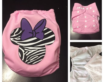 Zebra Mouse Ears with Bow Cloth Diaper - Pocket Cloth Diaper