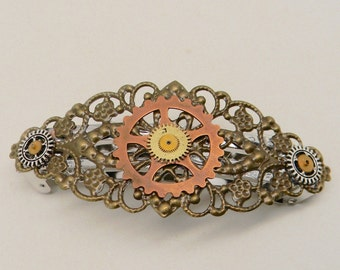 Steampunk jewelry hair barrette