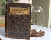 VINTAGE Longfellow Early Poems 1800's, Voices of the Night Ballads and other Poems, Beautiful embossed cover, hand set pages