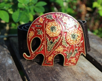 Vintage brass and enamel elephant buckle on brown suede belt - Golden Hands, Lee Bernay Designs