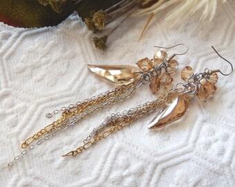 One of a Kind Sterling Silver Swarovski Crystal Multi Chain Chandelier Earrings