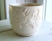 Vintage Nelson McCoy USA White (A) Pottery Planter Butterfly Pattern