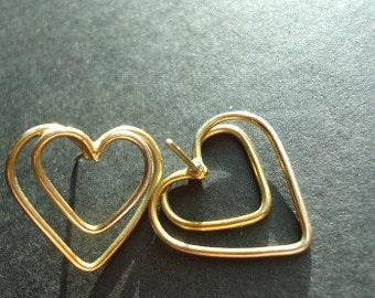 Vintage Wire Heart Post Earrings